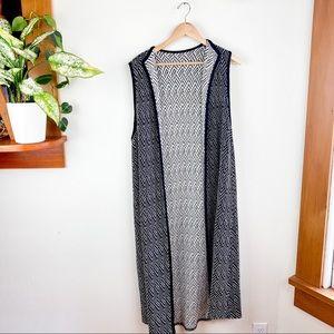 Vintage Sleeveless Cardigan Long Maxi Knit Wrap L